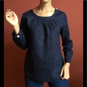 LIKE NEW J. Crew navy long sleeve linen top